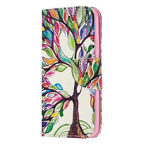 Fundas iPhone 11 Pro MAX Tapa de Falsa Piel Arbol de la Vida, Fundas iPhone 11 Pro MAX Libro Iman con Tarjetero, Funda Impreso para iPhone 11 Pro MAX 6.5 Pulgada Antigolpes Mujer