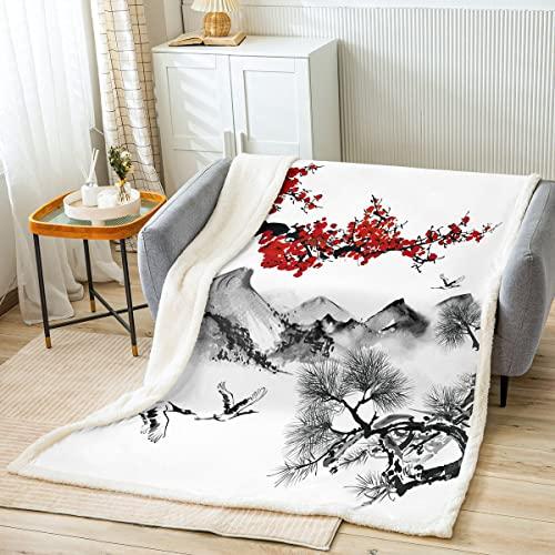 Manta para cama de pintura de tinta china, diseño floral de flor de ciruelo rojo para niños, regalo de niños, paisaje natural, manta de poliéster suave para sofá, tamaño de bebé (30 x 40 pulgadas)