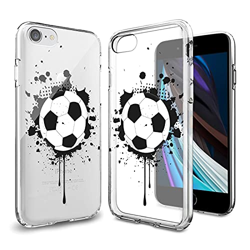 KOCHO Clear Case for iPhone 7/8/SE 2020 Customized Soccer Design for Men and Women,Clear Anti-Scratch Shockproof Slim Flexible Full Body Protective Cover Case for iPhone 7/8/SE 2020