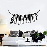 Música notas de piano clave de sol pegatina de pared clave de música vinilo extraíble pegatina para ventana Mural creativo para interiores 42x90cm