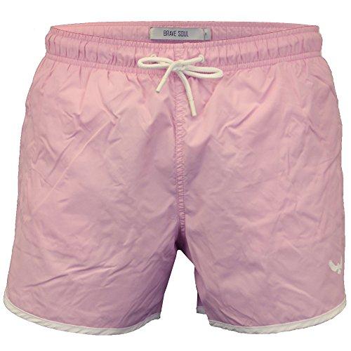 Herren Brave Soul Linford Badehose Runner Style Strandurlaub Surf Bord Trunks - Pink - ENNISPKB, Large
