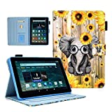 KEROM Case for Amazon Fire HD 10 Tablet (9th/7th/5th Generation, 2019/2017/2015 Release), PU Leather Stand Cover Case with Auto Wake/Sleep for 10.1 inch Fire 10 Tablet Case, Sunflower Elephant