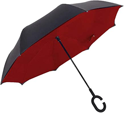 Vmoni Double Layer Inverted Reverse Folding Windproof UV Protection Big Straight Umbrella with C-Shaped Handle(Multicolour)