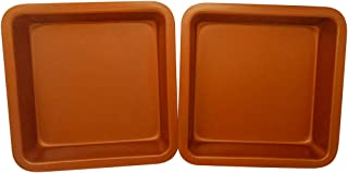 Copper Colored Square Baking Tin Pan by Trademark Innovations (Set of 2)