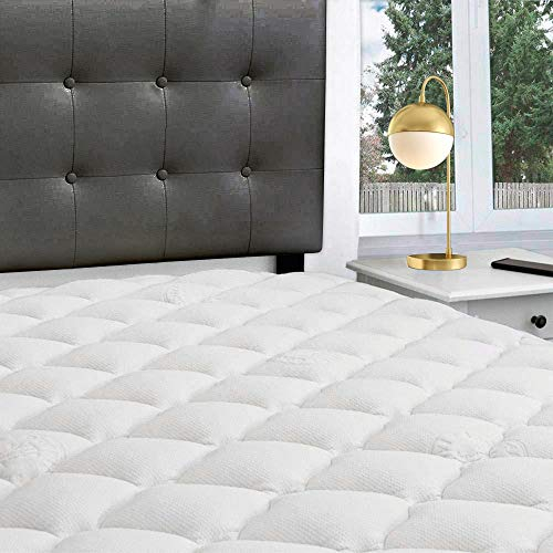 eLuxurySupply Double Thick Rayon Bamboo Mattress Topper with Fitted Skirt - Extra Plush Cooling Bamboo Mattress Pad - Hypoallergenic Down Alternative Fill - Proudly Made in The USA - Queen