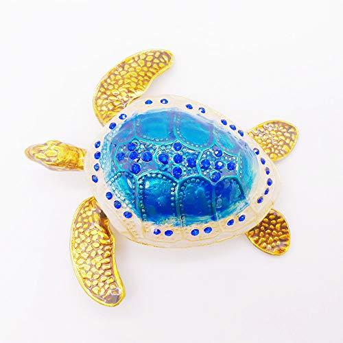 Gishima - Joyero de tortuga marina coleccionable con bisagras para soporte de anillo o regalo único