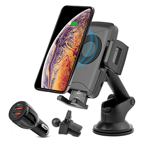 KATUMO Wireless Car Charger Mount 10W Fast Wireless Charging Air Vent Phone Holder for Smaung S9 S8 S6 Note 8 iPhone XR XS Max 8 Plus and Qi Enabled Devices with QC 3.0/3.1A Cigarette Lighter Adapter