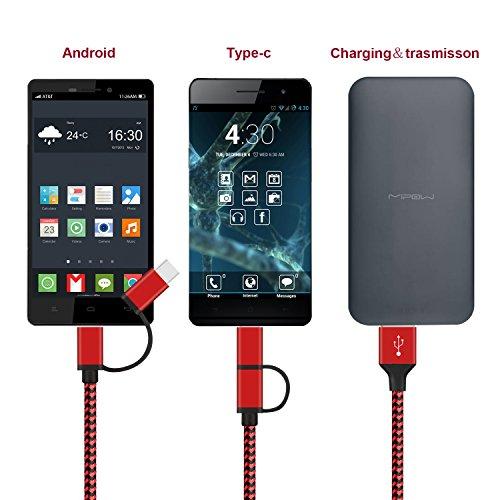 GlobaLink Multi USB Kabel 3 Stück 2 in 1 Kabel mit USB Typ C Kabel und Micro USB Ladekabel Nylon [1,5 m] für Android Galaxy S10 S9 S8 S7 S6 A50, Huawei P20, Sony, LG, Kindle(Schwarzrot)