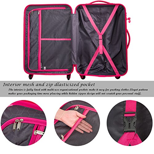 Merax Travelhouse Mixed Color 3 Piece Spinner Luggage Set with TSA Lock (Rose & Black)