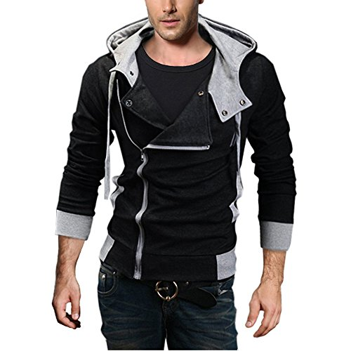 DJT Men's Oblique Zipper Hoodie Casual Top Coat Slim Fit Jacket Black M