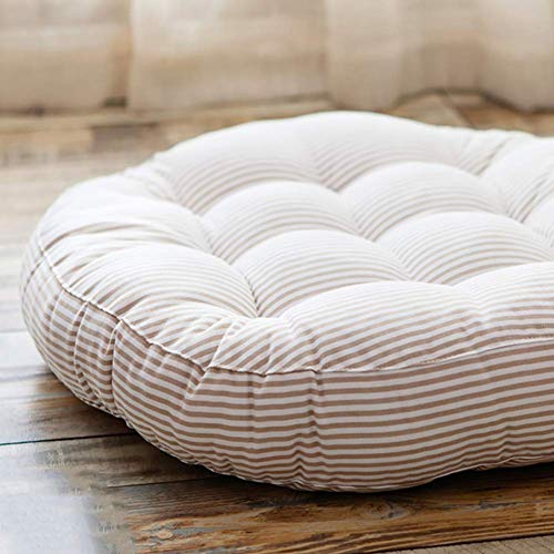 XHNXHN Cojines de silla de rayas redondas, algodón y lino cojines de silla de comedor Tatami piso espesan interior exterior transpirable asiento cushion-Beige 42x42x6cm
