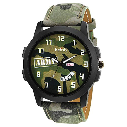 Relish Green Army Dial Day and Date Wrist Watch for Boys and Mens (RE-GA943DD)
