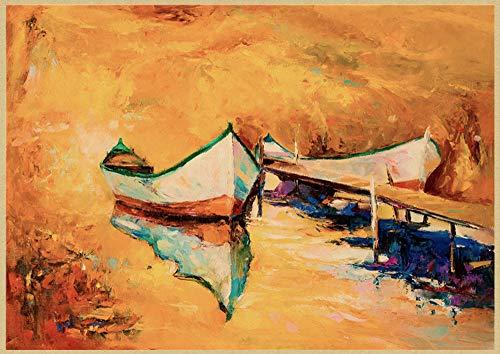 H/E Cartel De Arte Retro con Paisaje De Jardín Mediterráneo Abstracto, Sala De Estar, Bar, Café, Arte Decorativo De Pared Sin Marco, 40X60Cm P7002
