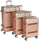 F|23 3-tlg. Hartschalen Trolley-Set, TSA-Schloss, 70 + 60 + 50 cm, ABS, Milano, Roségold, 77070-4