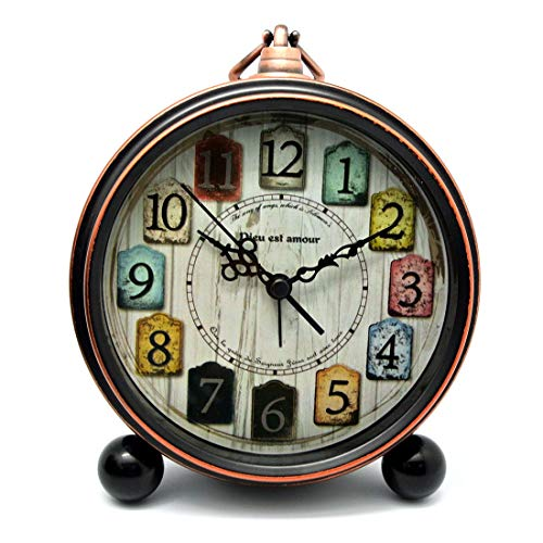 LXYZ Despertador Vintage Silencioso Decorativo Despertador Vintage Reloj de Mesa Despertador Metal Retro 13,6x17x4,6 cm 1