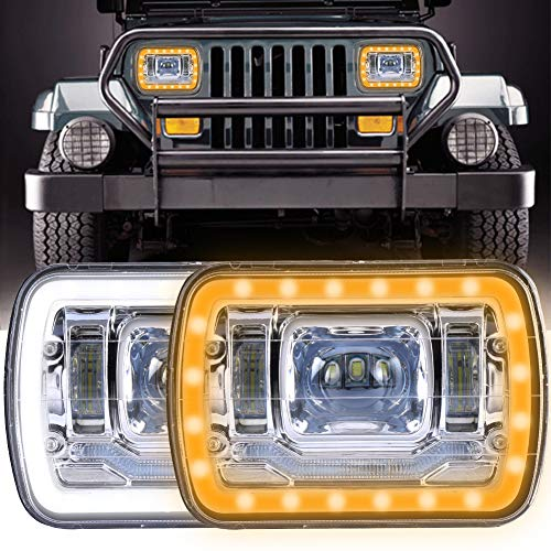 5x7 Inch Led Headlights 7x6 Led Sealed Beam Headlamp with High Low Beam DRL Amber Turn Signal Light and Halo Ring Angel Eyes Led Headlight