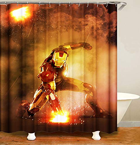 """7JVO Bathroom Shade Shower Curtain with Ring Polyester Waterproof Mildew Iron Man Easy to Install 71"""" Long,C,65×71inu×180cm"""