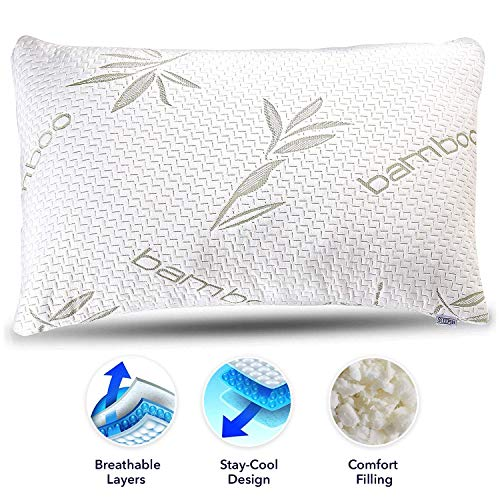 Sleepsia Bamboo Pillow - Premium Pillows for Sleeping - Memory Foam Pillow with Washable Case - Queen Size Pillow (Queen)