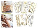 simpleheroes Temporäre Tattoos | 100 Designs für Frauen Jugendliche Mädchen | Metallic Silber & Gold | wasserdicht | Festival Schminke Henna Tattoo Glitzer | Tattooschmuck Kinder Tattoo Hochzeit
