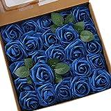 Ksnrang - Rosas Artificiales de Aspecto Real, Rosas Falsas de Color Fucsia para Bricolaje, Ramos de Boda, centros de Mesa, decoración para el hogar, Azul Real, 25pcs