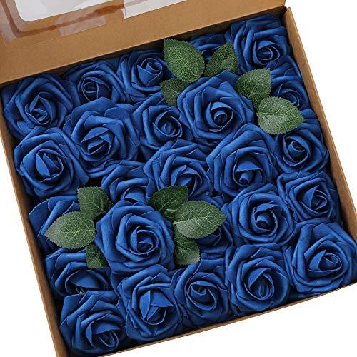 Ksnnrsng Flores Rosas Artificiales Espuma Rosa Falsa para Manualidades, Ramos de Novia, centros de Mesa, Despedidas de Soltera y Decoración del Hogar (25 Piezas, Azul Real) ✅