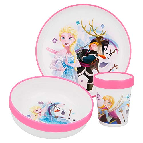 SET PREMIUM BICOLOR 3 PCS (PLATO, CUENCO y VASO 260 ML) FROZEN IRISDISCENT AQUA