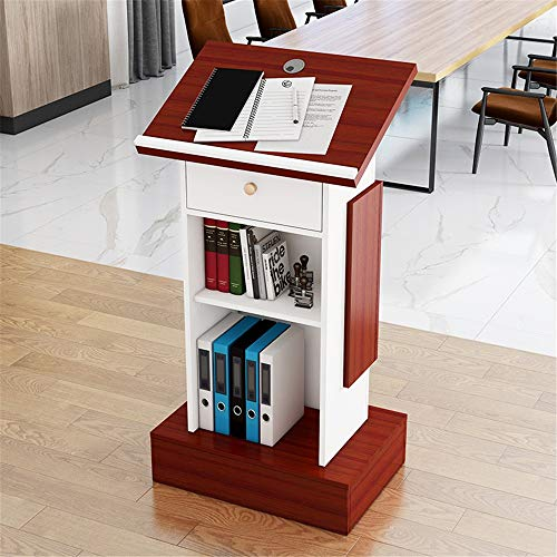 YaGFeng Lectern Meeting Room Floor Lecture Table Teacher Podium Table For Company Campus Podiums (Color : Wild Oak+Warm White, Size : One size)