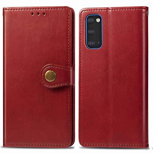 Docrax Galaxy S20 Handyhülle, Hülle Leder Case mit Standfunktion Magnetverschluss Flipcase Klapphülle kompatibel mit Samsung Galaxy S20 - DOSDA010644 Rot