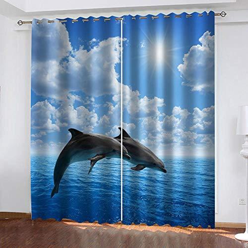 MXYHDZ Cortinas Dormitorio Opacas - Paisaje marino ballena azul Impresión 3D, Decoracion...