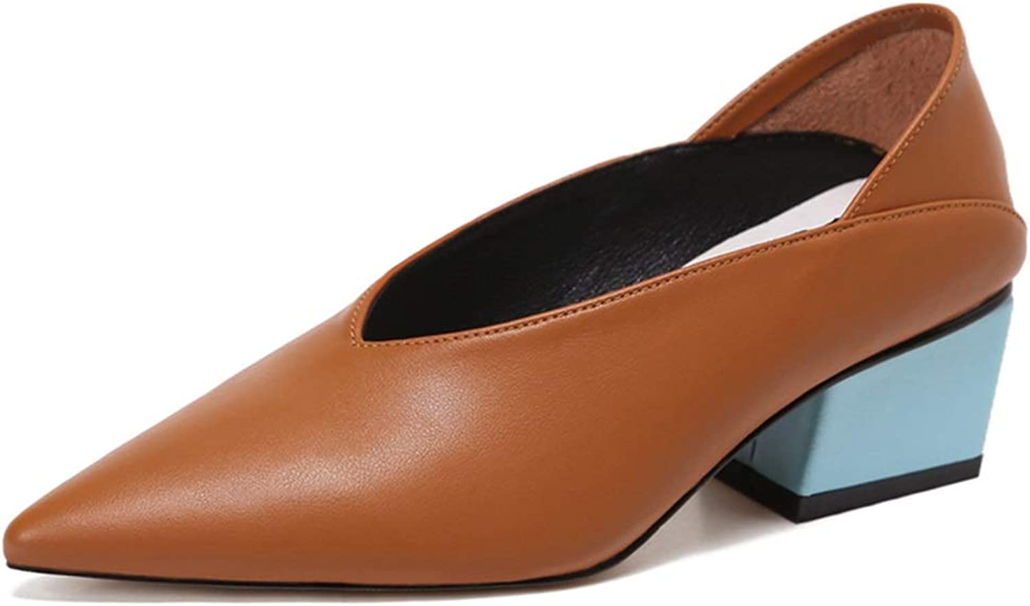 Women's shoes Wild Rough with Single shoes Pointed Shallow Mouth Single shoes with V shoes Witch shoes Mid Heel Sandals for Women A shoes with Two Use Slippers (color   Brown, Size   37 US6.5-7)