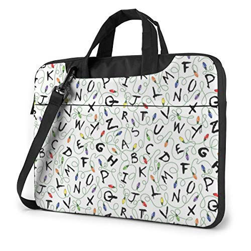 MATEH Stranger Letter Things White Laptop Sleeve Case 15.6 Inch Computer Tote Bag Shoulder Messenger Briefcase for Business Travel