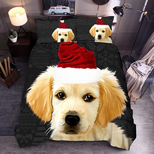 Duvet hat dog 3D bedding quilt cover pillowcase single double bed