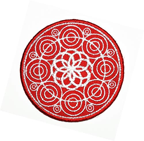 Lotus Buddha Red Circle Patch Buddha Buddhist Trance aum om Yoga Retro Boho Hippie Embroidered Badge Iron On Sew On Emblem Logo Jackets Dress Hat Vest Jeans Backpacks Clothes