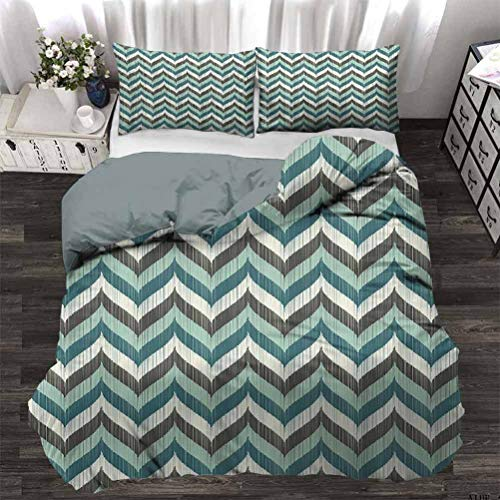 UNOSEKS LANZON Bedding Set Wavy Whale Tale Shapes Chevron Zig Zag Image Grunge Stripes Comforter Cover Protecting Your Duvet Black Turquoise White and Petrol Blue Twin - 180 x 230 CM