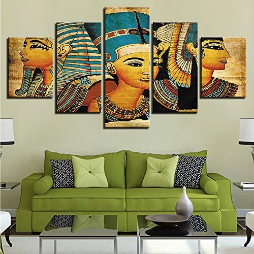 Zxdcd Poster Hd Canvas Poster Per Soggiorno Wall Art 5 Pezzi Faraone Di Antichi Dipinti Egizi Home Decor Immagini Vintage Modulari-30X40Cmx2 30X60Cmx2 30X80Cm