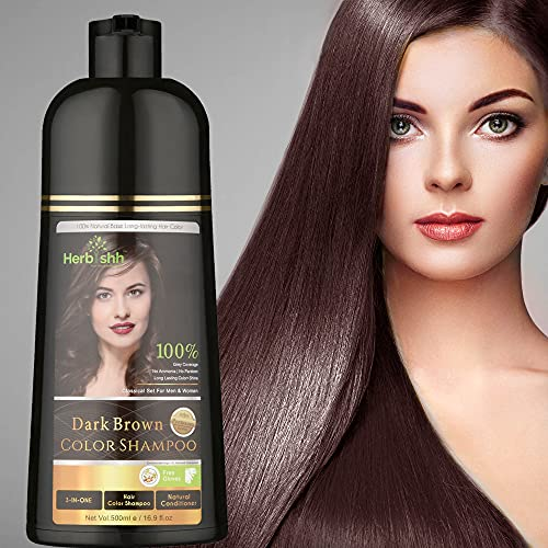 Herbishh Hair Color Shampoo for Gray Hair – Natural Hair Dye Shampoo – Colors Hair in Minutes–Long Lasting–500 Ml–3-In-1 Hair Color–Ammonia-Free   Herbishh (Dark Brown)