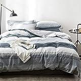 OREISE Duvet Cover Set King Size 100% Cotton Bedding Set Gray Blue White Printed Striped Style,3Piece (1 Duvet Cover + 2 Pillowcase),Comfortable Luxurious Hypoallergenic