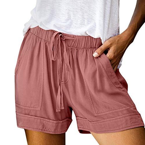FMYONF Pantalones cortos informales para mujer, para verano, tiempo libre, deportes, yoga, con goma elástica, tallas S-5XL, Rosa., M