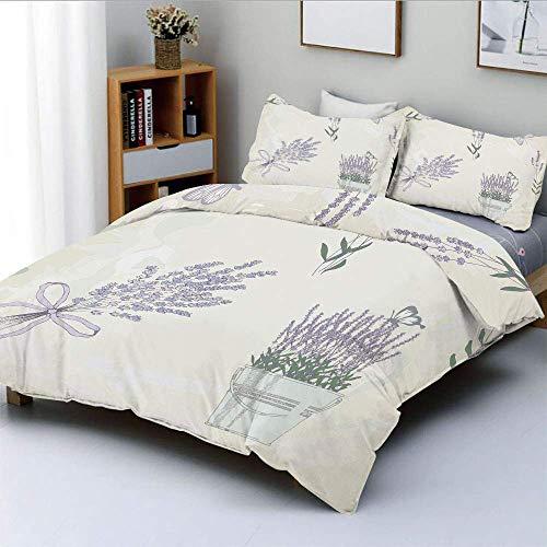 Juego de funda nórdica, composición floral vintage con elementos rústicos, ramos de mariposas, juego de cama decorativo de 3 piezas con 2 fundas de almohada, color verde cazador malva pálido, el mejor