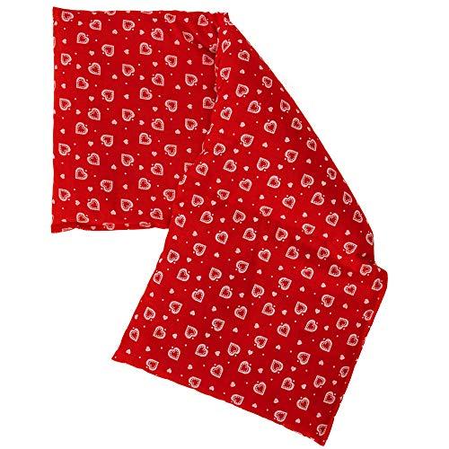 Rapssamenkissen 20x50cm groß 3-Kammer - Herzen-rot - Wärmekissen Körnerkissen - Herzen-rot
