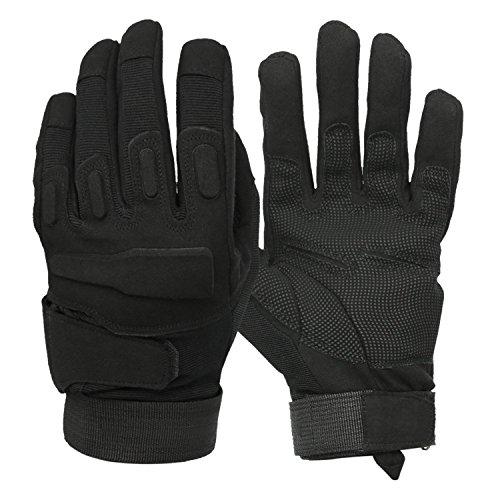 guanti antitaglio polizia Mimicool Guanti Outdoor Uomo Finger Completa Militari Guanti Tattici Antiscivolo Indossare Guanti Resistenti della Bicicletta del Motociclo (Black