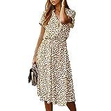 Mrinb Vestido de Mujer Vestido de Lunares con Volantes de Manga Corta con Cuello en v Vestido Largo de Boho Vestido de Verano con Manga de Soplo con Lazo Vestido de Fiesta Midi