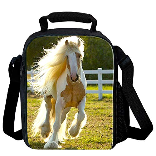 Reusable Snack Bags with Zipper Online Insulated Lunch Bags for Kids Lunch Box for School with Drink Holder 3D Print Horse