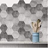 PiniceCore 10pcs / Set New Imitation marbre Carrelage Hexagonal Stickers Salle de Bain Cuisine Bricolage Home Nonslip Sol...