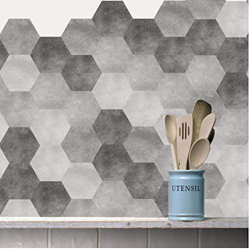 PiniceCore 10pcs / Set Nueva imitación mármol Azulejos Hexagonal Pegatinas de baño Cocina DIY Antideslizante Suelo Azulejos Pegatinas