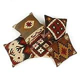 Handicraft Bazarr Juego de 5 fundas de almohada tejidas a mano, estilo vintage, con borla, rústica, cojín de tela, lana, tela de yute con cremallera, funda de cojín