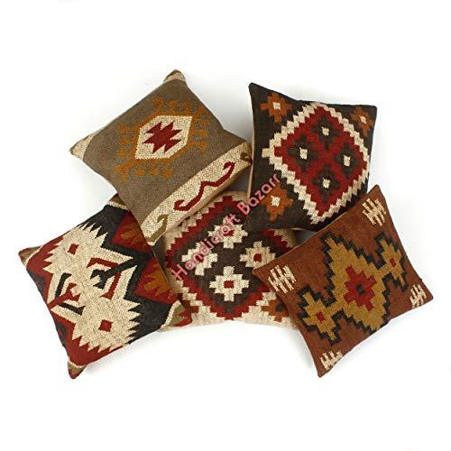 Handicraft Bazarr 5-teiliges Set handgewebter Vintage-Kissenbezug, Teppich, rustikale Quaste, getuftete Kissen, Textil-Kissenbezug, Wolle, Jute, Stoff, Reißverschluss, Kelim-Kissenbezug.
