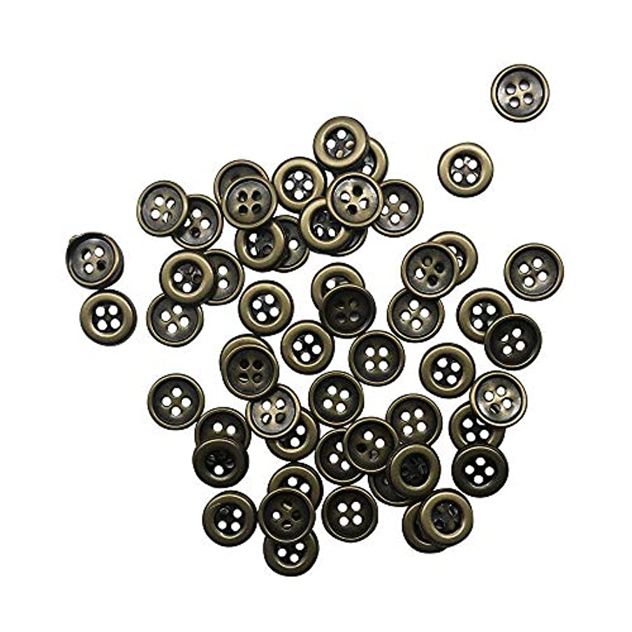 50PC Antiqued Bronze Metal 4 Holes Buttons for Scrapbooking Sewing,4/5 inch,Q1811