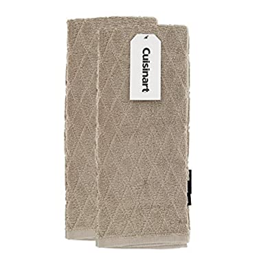Cuisinart Bamboo Dish Towel Set-Kitchen and Hand Towels for Drying Dishes/Hands - Absorbent, Soft and Anti-Microbial-Premium Bamboo/Cotton Blend, 2 Pack, 16 x 26, Tan, Diamond Design