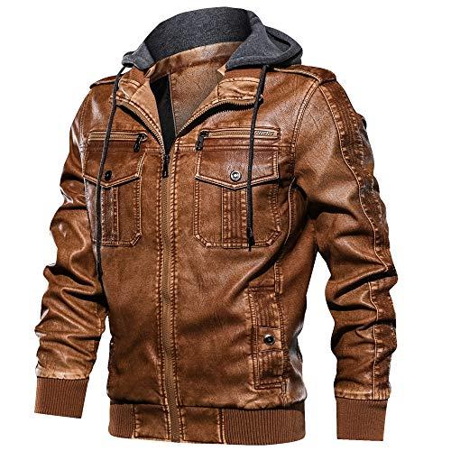 FEDTOSING Lederjacke Herren Kunstlederjacke Abnehmbarer Kapuze Cargojacke Winterjacke Slim Fit(Brown A XL)